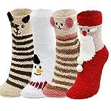Women Girls 3D Cute Animals Slipper Sleeping Winter Crew Cozy Fuzzy Socks Value Pack (3D Christmas Pack)