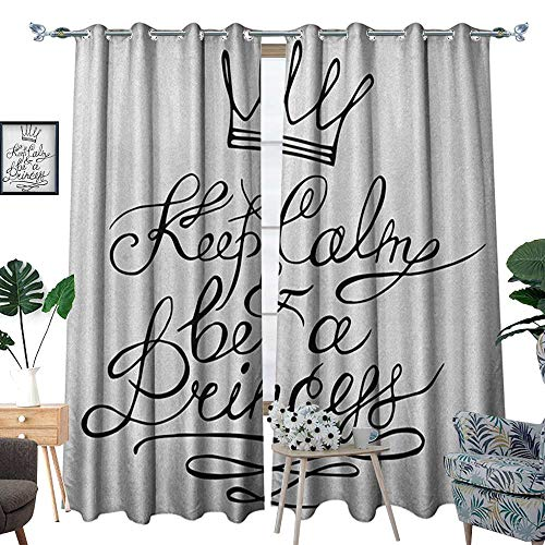 Warm Family Keep Calm Room Darkening Wide Curtains Be a Princess Motivational Romantic Quote with Hand Letters Save The Date Print Customized Curtains W84 x L108 Black White