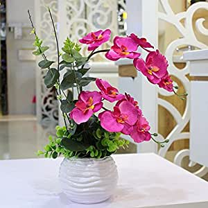 LQAQ Artificial Phalaenopsis Potted kit Silk Flower Plastic Flowers Home Decor Red