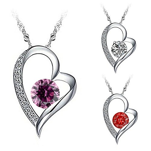 Tyjewelry 14k Gold Plated Silver Heart Pendant Necklace for Womens (White,purple,red,pink,18)