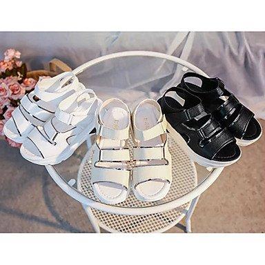 LvYuan Mujer Sandalias PU Primavera Verano Hebilla Cinta Adhesiva Tacón Plano Blanco Negro Beige 5 - 7 cms White