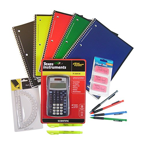 Back to High School & College 14 Item Bundle with Texas Instruments TI-30X IIS Scientific Calculator with School Supplies by Various