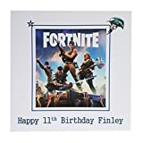 HANDMADE CARDS BY KD, FORTNITE PERSONALISED BIRTHDAY CARD - Handmade PS4, XBOX ONE, PC game fan milestone birthday card. Choose your own name and age to personalise to make a unique greeting card. Great personalised gift card to celebrate any Birthday. Ideal card to send to any Fortnite gaming fan. Playstation, PS4, Sony, Xbox One, Window Gaming PC, Apple Mac Gaming. Kids Happy Birthday card. FREE POSTAGE