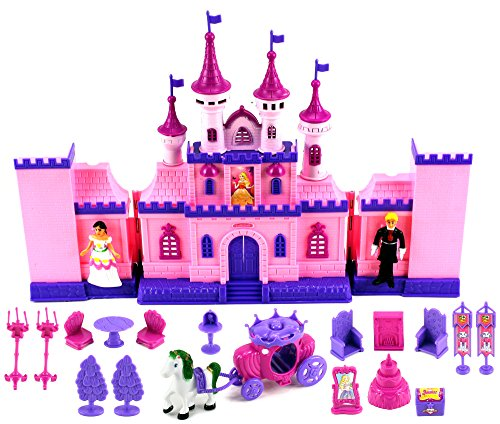 My Beautiful Castle 34 Toy Doll Playset w/ Lights, Sounds, Prince and Princess Figures, Horse Carriage, Castle Play House, Furniture, Accessories