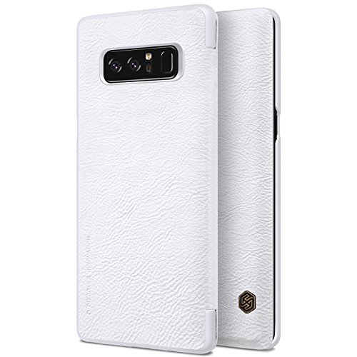 Samsung Galaxy Note 8 Case ,Samsung Galaxy Note 8 Synthetic Leather Case ,Opdenk- Nillkin Qin Ultra Thin Card Slot Smart Case Flip Leather Case Cover For Samsung Galaxy Note 8 (White) by OPdenk