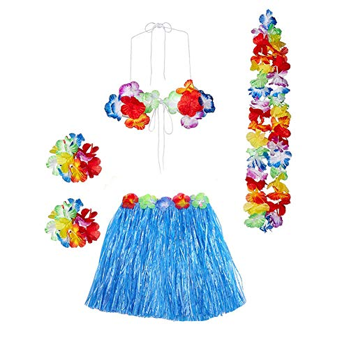- Gorse Hula Grass Skirt with Flower Leis Costume Set, Elastic Luau Grass and Hawaiian Luau Costume Set Flower Bracelets, Headband, Necklace,Bra for Party Favors(Blue 15.7)