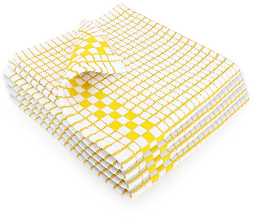 Fecido Classic Kitchen Dish Towels with Hanging Loop - Set of 4, Yellow