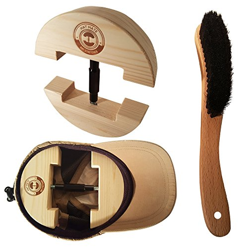 Premium Hat Stretcher with BONUS Hat Brush & Ebook. HAT MATE. Solid Wood, One Size Fits All, Heavy Duty, Hat Stretchers & Clothes Brush,Hat Jack, Cowboy, Fedora, Baseball, Up Straw, (All Baseball Hats)