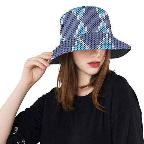 (Top Hats Summer Unisex Bucket Hat Blue Clean Geometric Design Reversible Fisherman Cap Travel Fishing Picnic Caps for Teens Boy )