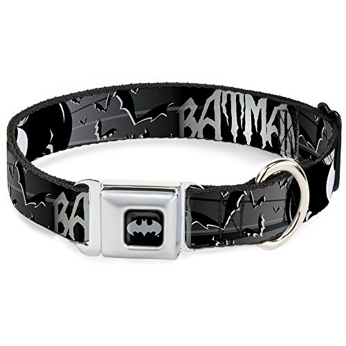 Buckle-Down DC-WBM036-L BMA Batman Black/Silver Dog Collar, Large/15-26