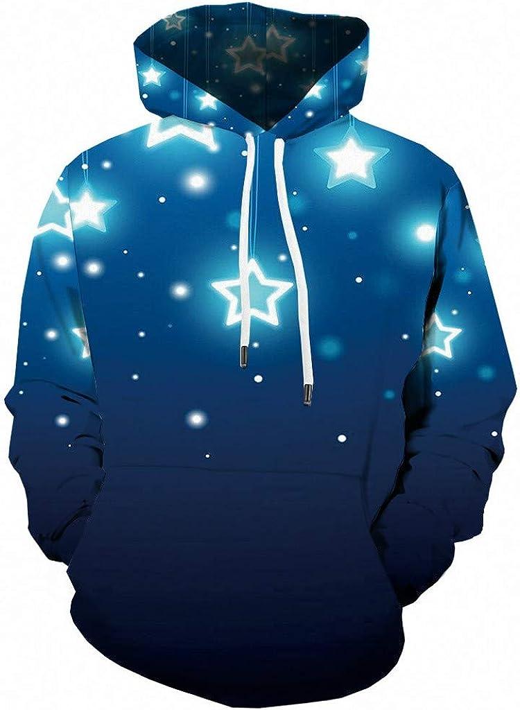 Unisex Realistic 3D Print-Star Patterns Pullover Hoodie Hooded Sweatshirt for Student Girls,AcisuHu