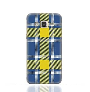 Samsung Galaxy Core Prime TPU Silicone Case with Blue and Yellow Plaid Fabric Design