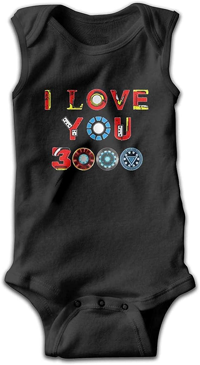 Babys Comfortable Sleeveless Bodysuit Onesies Print I Love You 3000 Times Jumpsuit Black