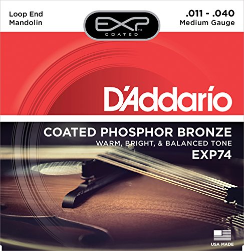 D'Addario EXP74 Coated Phosphor Bronze Mandolin Strings, Med