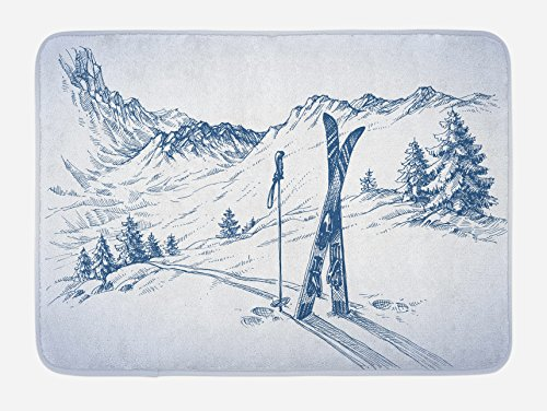 Ambesonne Winter Bath Mat, Sketchy Graphic of a Downhill with Ski Elements in Snow Relax Calm View, Plush Bathroom Decor Mat with Non Slip Backing, 29.5