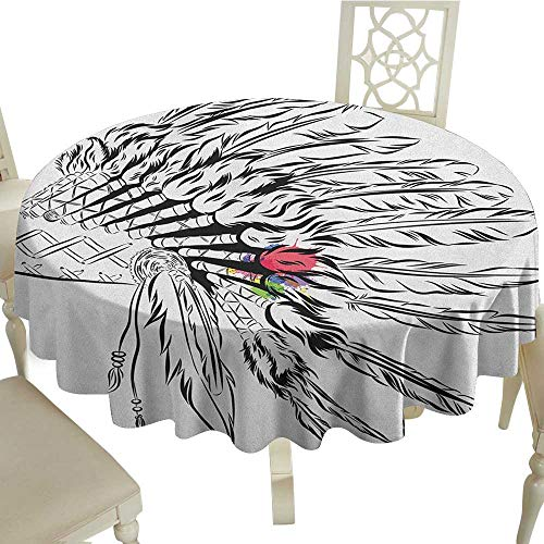 flower tablecloth 54 Inch Feather,Native American Headdress in Sketch Style with Color Splashes Primitive Black White Multicolor Suitable for Party,outdoors,Farmhouse,coffee shop,restaurant More ()