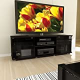 Brayden Studio Keeley 60'' TV Stand, Easy Touch Tempered Glass Doors with Magnetic Catches (Black)