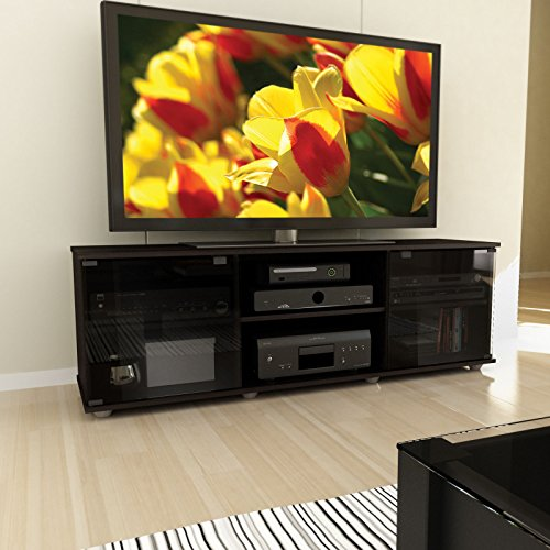 Brayden Studio Keeley 60'' TV Stand, Easy Touch Tempered Glass Doors with Magnetic Catches (Black) by Brayden Studio