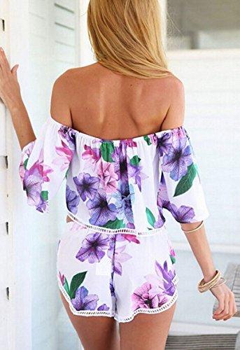 Towallmark(TM)Women Flower Print Shirt Blouse Shorts Sets