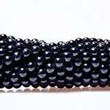Czech Glass Pearl Round Beads Jet Black Color High Quality Bead for Beading DIY Jewelry - 8mm, 200pcs By eArt