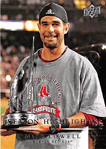 (Mike Lowell baseball card (Boston Red Sox) 2008 Upper Deck #747 2007 World Series MVP Trophy)