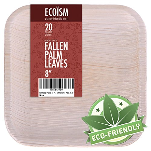 Ecoism Palm Leaf Plates - White Fallen Areca Leaves - All Natural 100% Compostable - Eco-Friendly Disposable Party Plates - 8 Inch Square - 20 Count (8
