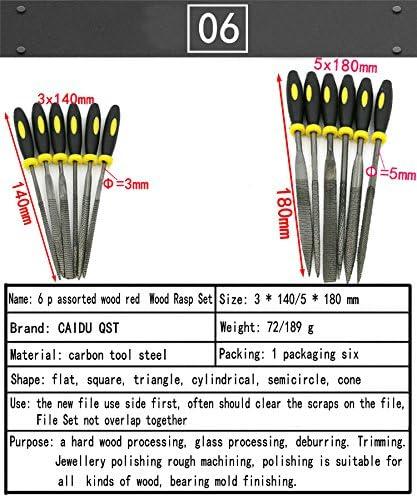 Round Flat Warding Triangular Square and Half-Round File. CAIDU File Handles,6p 5x180mm Mini Diamond Needle File Set Includes Flat