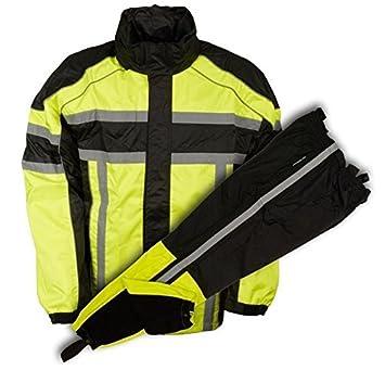 Men's Riding Motorcycle 100% Nylon RAIN Suit Gear Black/Green W (5XL Regular) Unbranded 4333058354