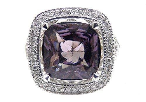 - 5.00 Ct Purple Spinel & Round Diamond 14k White Gold Ring
