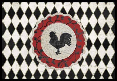 "Caroline's Treasures Rooster Harlequin Black and White Indoor or Outdoor Mat, 24"" x 36"", Multicolor"