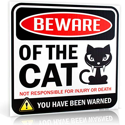 Beware of Cat Warning Sign | 12