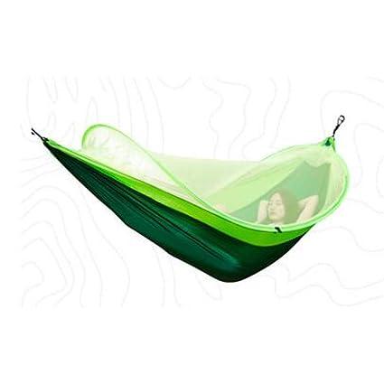 LOLIVEVE 260X150Cm Exterior Mosquitera Paracaídas Hamaca Acampar Colgando Dormir Cama Columpio Saco De Dormir Portátil Hamaca