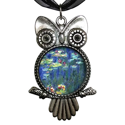 Monet Silver Necklace - GiftJewelryShop Ancient Style Silver Plate Monet Water Lilies Owl Charm Pendant Necklace