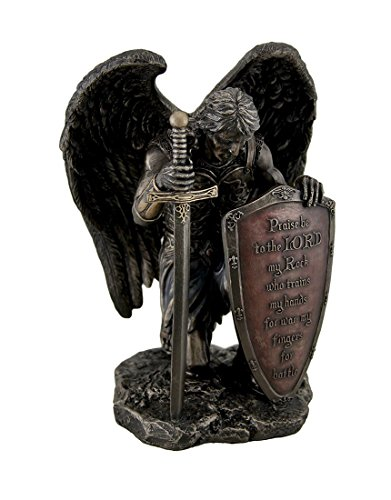 Veronese Resin Statues Praise Be To The Lord My Rock Kneeling Warrior Angel Statue 6 X 8 X 4.5 Inches Brown