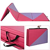 Giantex 4'x10'x2 Thick Folding Panel Gymnastics Mat Gym Fitness Pink
