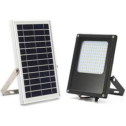 Solar Flood Light Outdoor,HJLFA Dusk to Dawn 120 LEDs 6W IP65 Waterproof Solar Powered Security Flood Light for Flag Pole,Business Sign,Garden,Yard,Driveway,Farm,Shed,Auto-on/Off