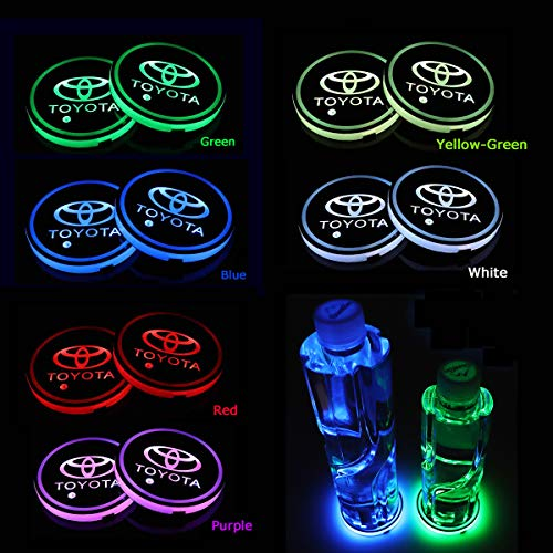 AutoDIY Led Car Logo Cup Lights up Holder USB Charging Waterproof Bottle Drinks pad 7 Colors Changing Atmosphere Lamp mat Cars for Luminous Coasters 2PCS (Fit Toyota) ()