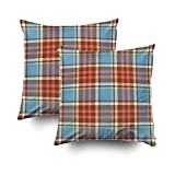 GROOTEY Decorative Cotton Square Set of 2 Pillow Case Covers Zippered Closing Home Sofa Decor Size 16X16Inch Costom Pillowcse Throw Cover Cushion,Tartan plaid pattern in blue pink brown