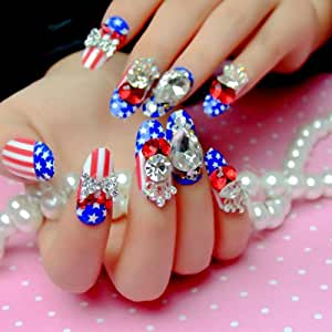 Amazon.com: 24 PCS Fake Nails Long Blue Red American Flag ...