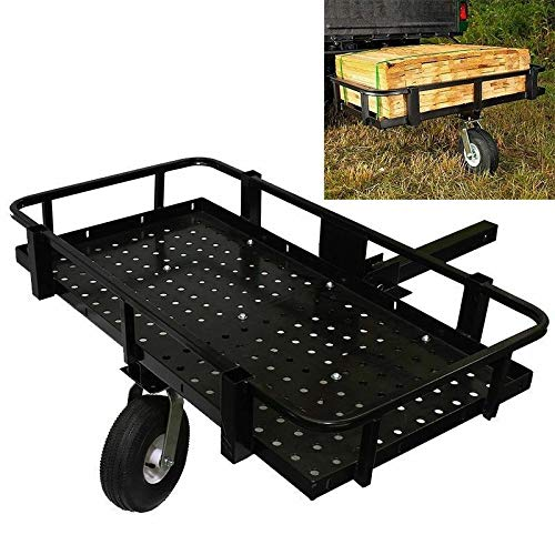"Cypress Shop Heavy Duty Single Wheel Track Behind Wheelbarrows ATV UTV Trail Mule Float Over Trailer Garden Hunting Fishing Camping Folding 2"" Hitch Stress Free"