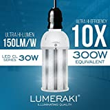 LUMERAKI 30W LED Corn Light, Ultra Hi-Lumen 150lm/w, Ultra-Bright 4,500 Lumens, E26 Standard Base plus E39 Mogul Base Adapter Converter Included.