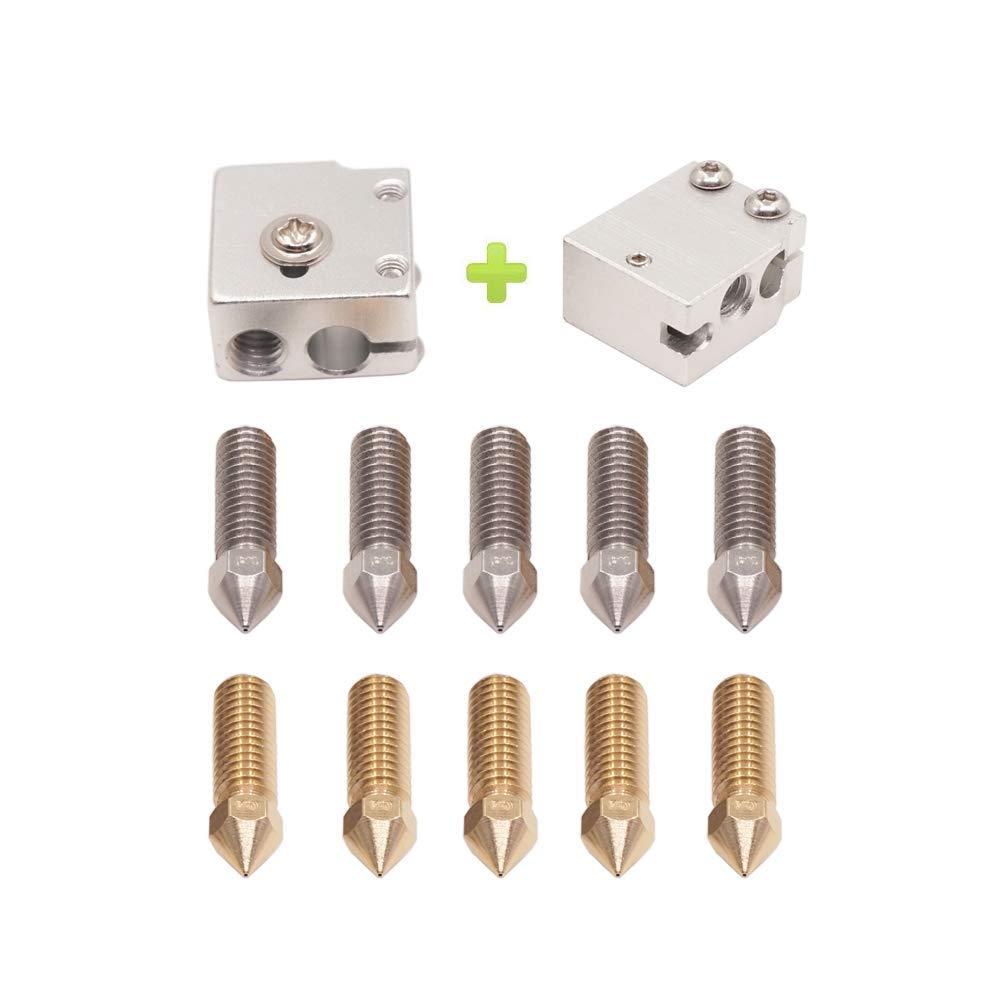 WINSINN High Speed 3D Printer Nozzle, Compatible with E3D Volcano V6 J-Head Hotend Extruder - Sensor Heater Block for PT100 1.75mm