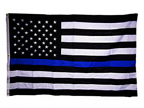 AES 6x10 Embroidered USA Police Thin Blue Line Rough Tex 300D Nylon 6'x10' (Grommets) Banner House Banner Double Stitched Fade Resistant Premium Quality ()
