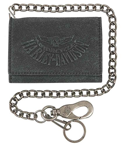 Harley Davidson Washed Medium Tri Fold UN7705L GRYBLK
