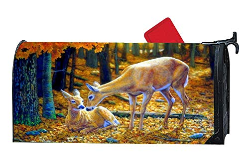 Custom Mailbox Cover Magnetic, Personalized Home Garden Mailbox Decorative Wraps for Standard Metal/Steel Mailboxes, 6.5 x 19 Inches - Autumn Innocence Deer Family Wildlife