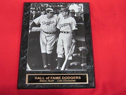 Brooklyn Dodgers BABE RUTH LEO DUROCHER Collector Plaque w/8x10 -