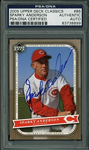 Bell Sports Reds Sparky Anderson Signed Card 2005 Upper D...