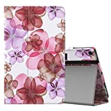 MoKo Case for All-New Amazon Fire HD 10 Tablet (7th Generation, 2017 Release) - Slim Folding Stand Cover with Auto Wake / Sleep for Fire HD 10.1 Inch Tablet, Floral PURPLE