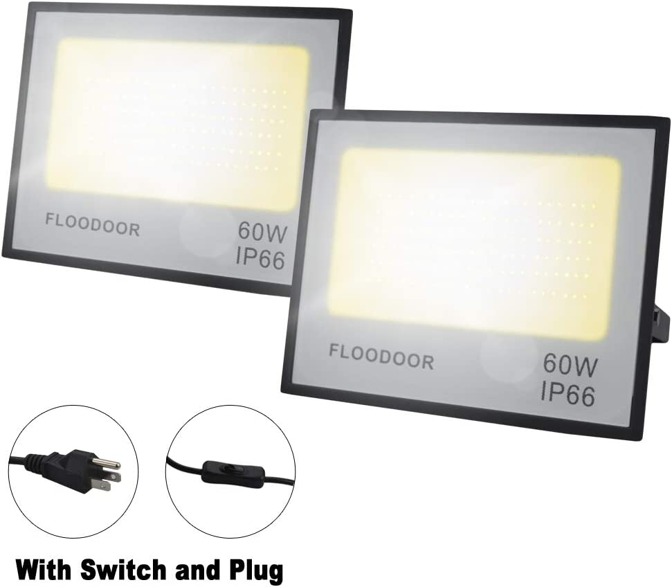 Floodoor 60W LED Flood Light 6000LM 3000K Warm White Floodlight IP66 Waterproof Outdoor Landscape Light