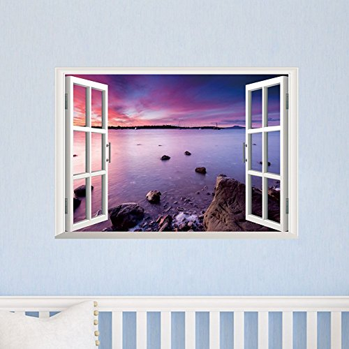 MacTop 1 X Beautiful 3D Window View Removable DIY Eco-friendly Wall Stickers...
